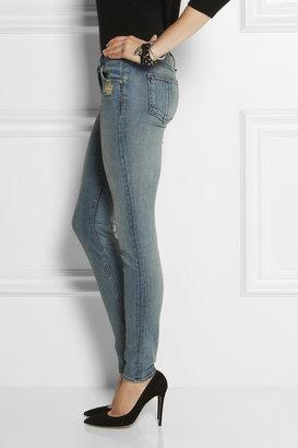 Rag and Bone Rag & bone The Skinny distressed mid-rise jeans
