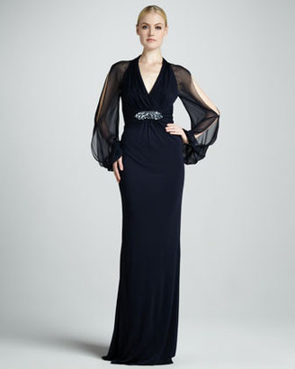 David Meister Cold-Shoulder Empire Waist Gown