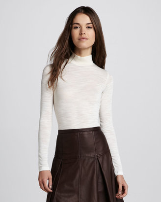Halston Long-Sleeve Slub Turtleneck Top