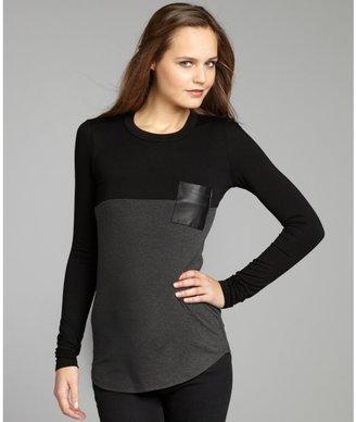 Wyatt black and grey jersey leather pocket long sleeve tunic