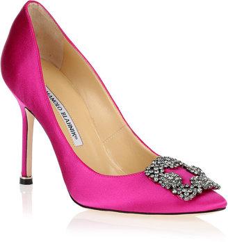 Manolo Blahnik Hangisi satin pump hot pink
