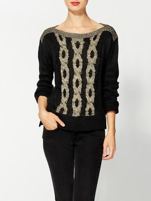 Aryn K Cable Knit Two Tone Sweater