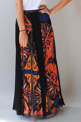 I. Madeline Geometric Pleated Maxi Skirt