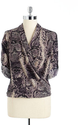 Collective Concepts Snakeskin Print Surplice Blouse