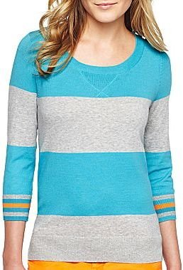 JCPenney jcp Striped Sweater - Petite