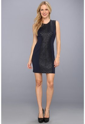 Badgley Mischka Strip Leather Dress (Black Blue) - Apparel