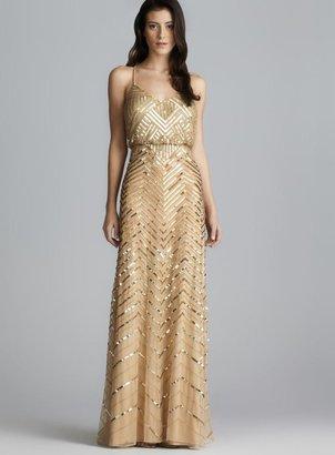Adrianna Papell Cross Back Long Sequined Blouson Dress