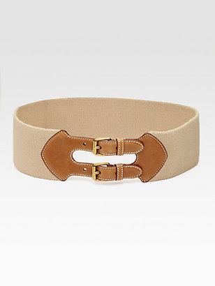 Prada Leather-Trim Elastic Belt