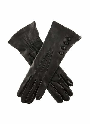 Dents Rose Women's Silk Lined Leather Gloves BLACK 7
