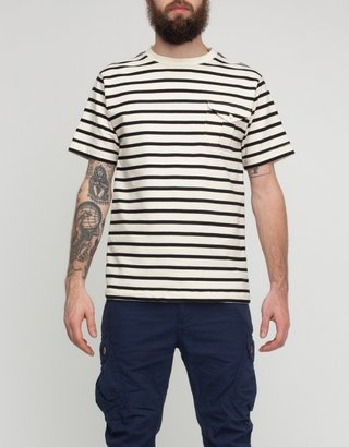 Creep by Hiroshi Awai White/Black Stripe Pocket Tee
