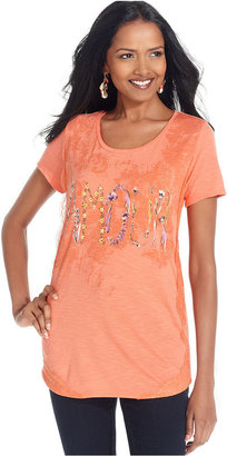 Style&Co. Top, Short-Sleeve Printed Lace-Trim Tee