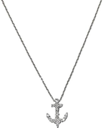Roberto Coin Tiny Treasures 18K White Gold & Diamond Anchor Pendant Necklace