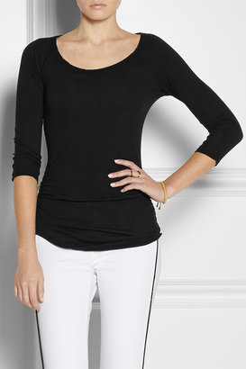 James Perse Ruched stretch-cotton baseball T-shirt