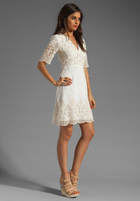 Anna Sui Bohemian Eyelet Embroidered Short Sleeve Dress