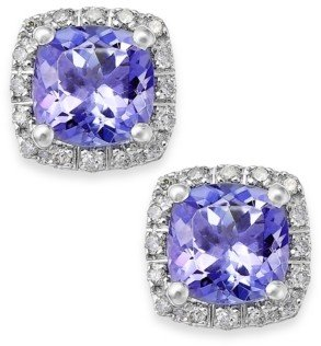 Macy's Tanzanite (1-5/8 ct. t.w.) and Diamond (1/8 ct. t.w.) Square Stud Earrings in 14k White Gold