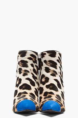Giuseppe Zanotti Ivory Leopard Print Calf-Hair Cam Klein Ankle Boots