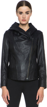 Helmut Lang Washed Hooded Leather Jacket in Black
