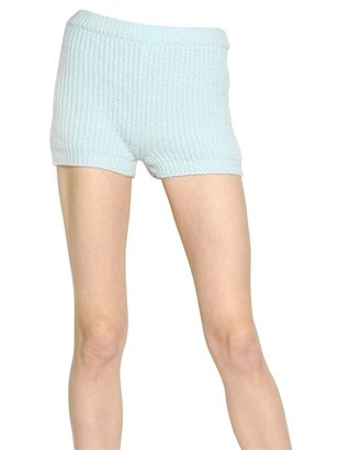 Blumarine Ribbed Knit Wool & Cashmere Shorts