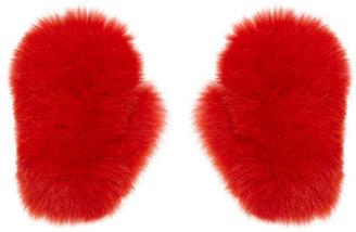 MSGM Bright Red Fur Gloves