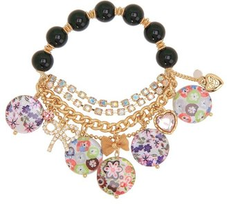 Betsey Johnson Mother of Pearl Flower Half Stretch Bracelet (Multi) - Jewelry
