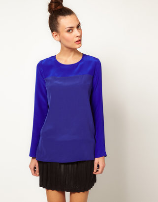 Richard Nicoll Silk T-Shirt with Long Sleeves and Georgette Panel