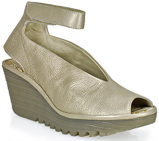 Fly London Yala - Leather Ankle Strap Peep Toe Wedge in Silver