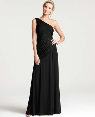 Ann Taylor Satin Jersey One Shoulder Gown