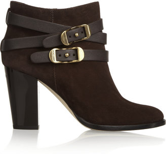 Jimmy Choo Melba Buckled Suede Ankle Boots