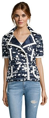 Moncler blue and white quilted 'Friant' short sleeve jacket