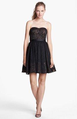 Aidan Mattox Strapless Fit & Flare Jacquard Dress