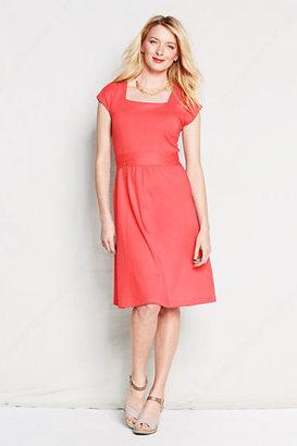 Lands' End Women's Tall Short Sleeve Cotton Modal Squareneck Dress