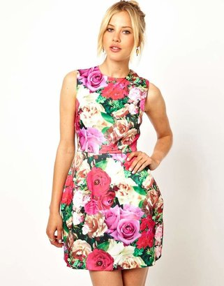 Asos Structured Floral Tulip Dress