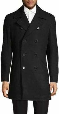 DKNY Notch Lapel Double-Breasted Coat