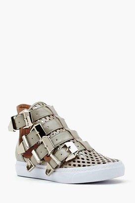 Nasty Gal Indie Hi Buckled Sneaker - Gray