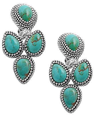 Barse Sierra Genuine Turquoise Clip Earrings