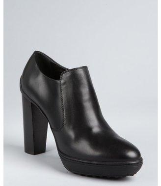 Tod's black leather side zip wooden heel booties