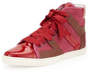 Lanvin Leather High-Top Sneaker, Fuchsia