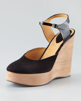 Chloé Suede Ankle-Wrap Wedge Sandal