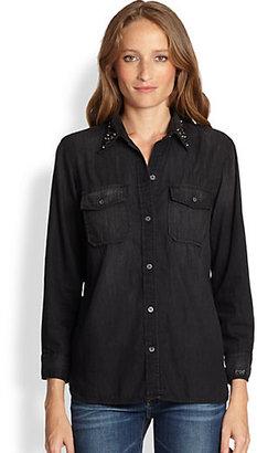 Current/Elliott The Perfect Studded-Collar Denim Shirt