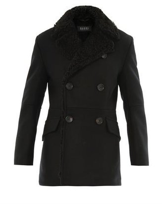 Gucci Double-breasted shearling coat