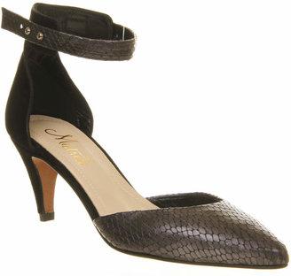 Poste Mistress Heather Snake Strap Shoe Black Embossed Leather