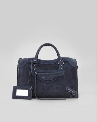 Balenciaga Baby Daim Suede Classic City Bag, Arctic Blue