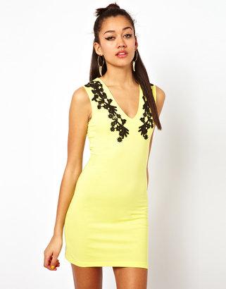 Motel Dress With Lace Trim