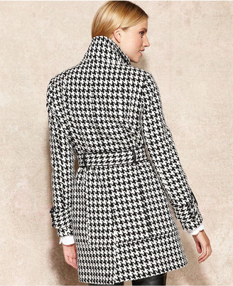 Calvin Klein Houndstooth Wool-Blend Trench Coat
