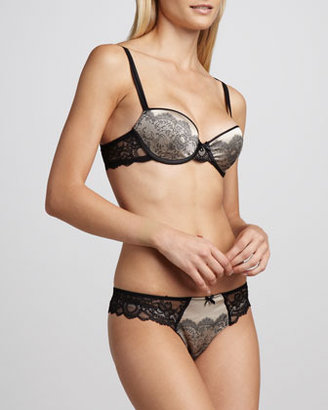 Chantelle Paris Satin-Jacquard T-Shirt Bra, Black/Nude