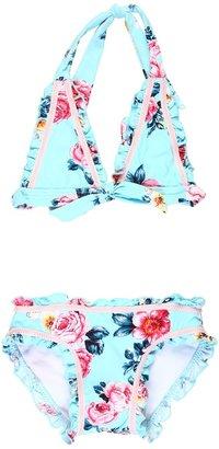 Seafolly Rococo Rose '70s Halter Bikini (Toddler/Little Kids) (Vintage Blue) - Apparel