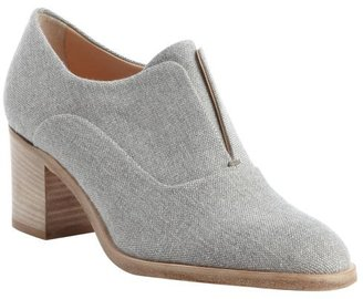 Reed Krakoff grey and white canvas block heel oxford pumps