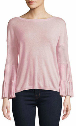 Autumn Cashmere Ribbed Bell-Sleeve Cashmere Sweater