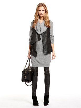 DKNY Washed Leather Asym. Zip Front Vest With Stretch Inserts And Slub Jersey Back