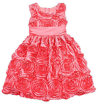 Rare Editions 7-16 Coral Circle Soutache Dress